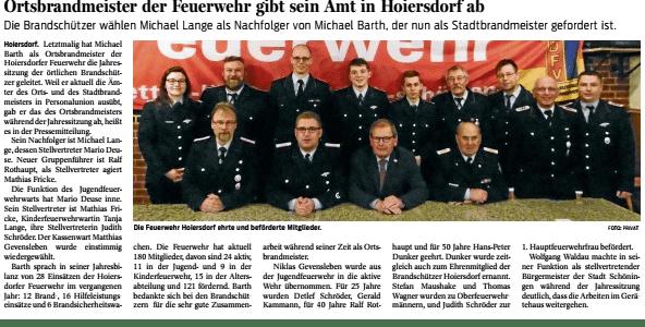 Jahreshauptversammlung der Ortsfeuerwehr Hoiersdorf